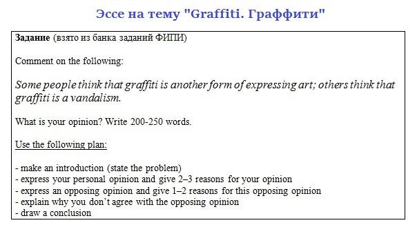 Эссе на тему Граффити. Задание