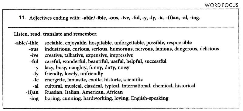 Словообразование. Суффиксы прилагательных.