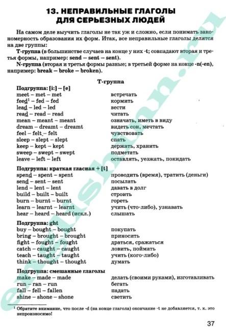 Неправильные глаголы выучить