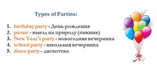 Parties. Английские слова