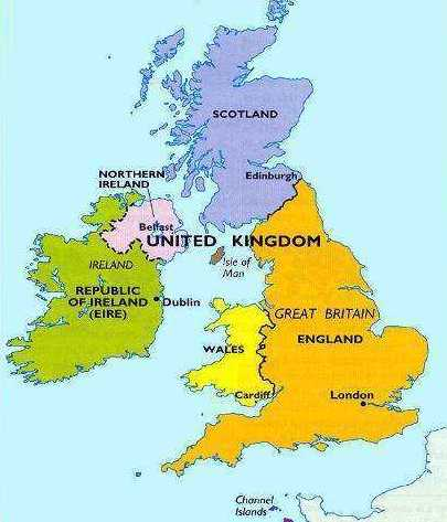 The UK and its parts on the map