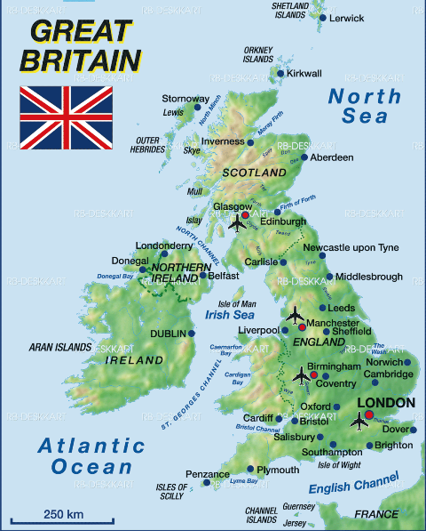 Great Britain.Text for beginners with map